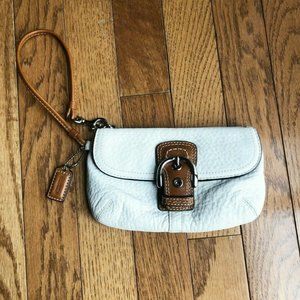 Coach White and Brown Leather Wristlet Purse